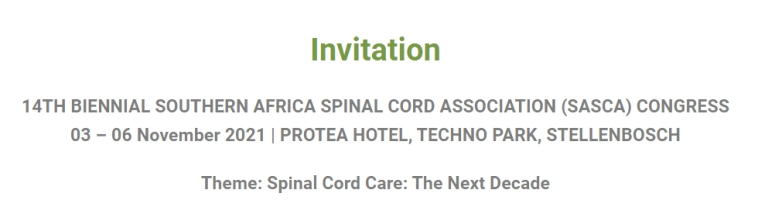 Handicapped Scuba Crew - Invitation to 14th Biennial Southern Africa Spinal Cord Association (SASCA) Congress 03 - 06 November 2021 at the Protea Hotel, Techno Park, Stellenbosch. Theme: Spinal Cord Care: The Next Decade