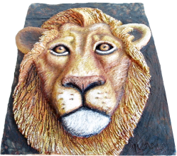 clay lion sculpture-by Alan Downey