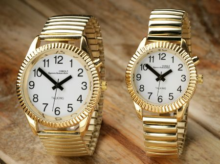 W23 Gents/Ladies Gold Talking Calendar Alarm Watch